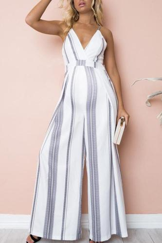 Maternity Deep V-Neck Stripe Printing Loose Jumpsuit