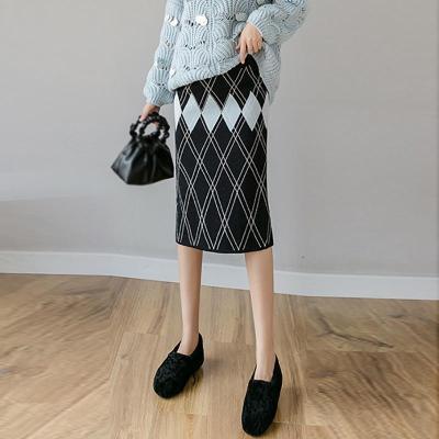 Maternity Plaid Mid-Length Knit Skirt