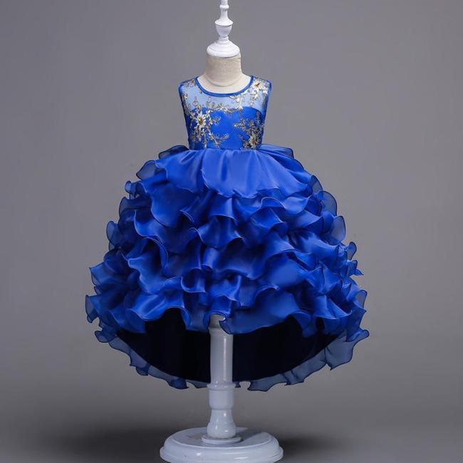 Multi-Layered Lace Trailing Princess Show Cake Evening Dress