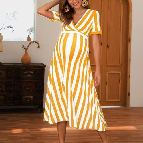 Maternity Sexy V-Collar Striped Short-Sleeved Dress