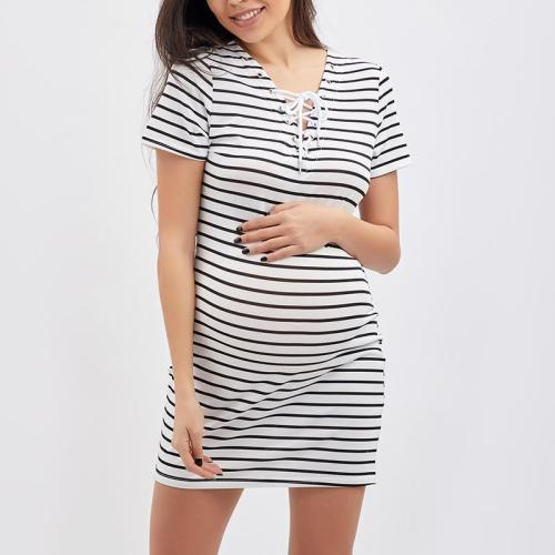 Maternity V-Neck  Lace-Up  Printed Shift Dress