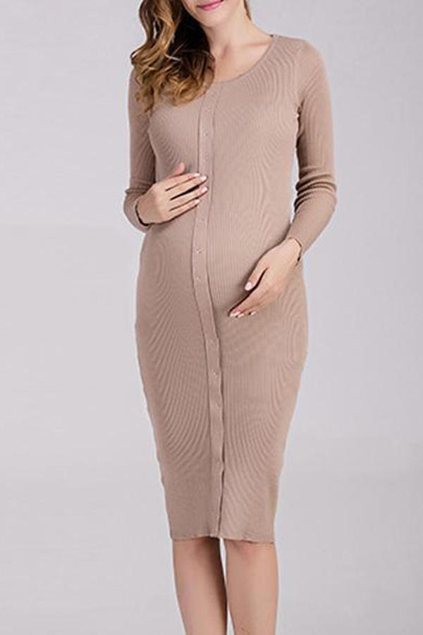 Round Neck Long Sleeve Mid-Length Knit Maternity Dress