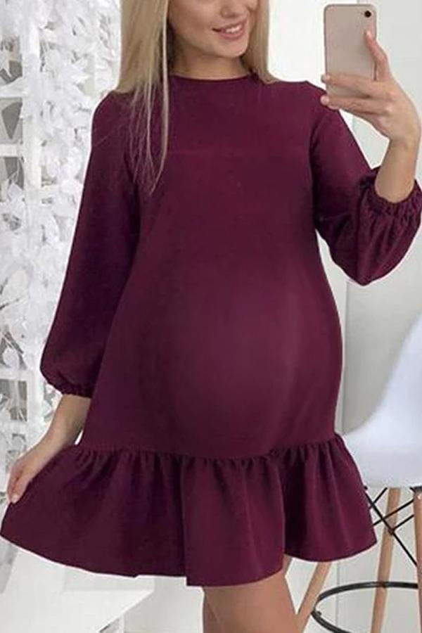 Maternity Elegant Round Neck Stitching Ruffled Dress