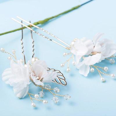 White Flower Hair Pins Gold Leaves Pearl Hair Stick Wedding Bridal Hair Accessories