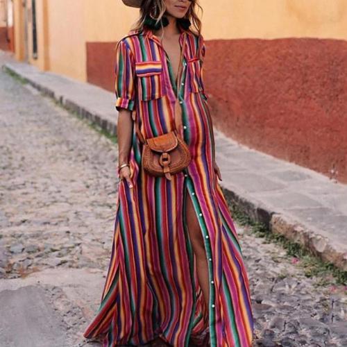 Maternity Fashion Striped V Neck Short Sleeve Dress