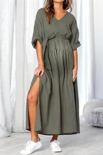 Maternity V-Neck Belt Tie Long Sleeve Side Split Splicing Long Dress