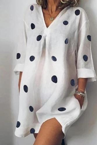 Maternity Loose Printed Cropped Sleeves Split Dress