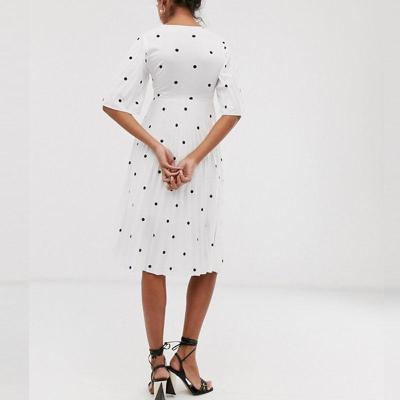 Maternity Casual V Neck Short Sleeve Polka Dot Dress