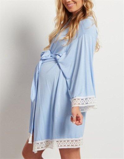 Maternity Nursing Pajamas Nightgown Breastfeeding Dress Long Sleeve Pajamas