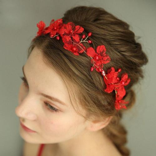 New Lace Red Flower Photography Hair Jewelry Bridal Headband