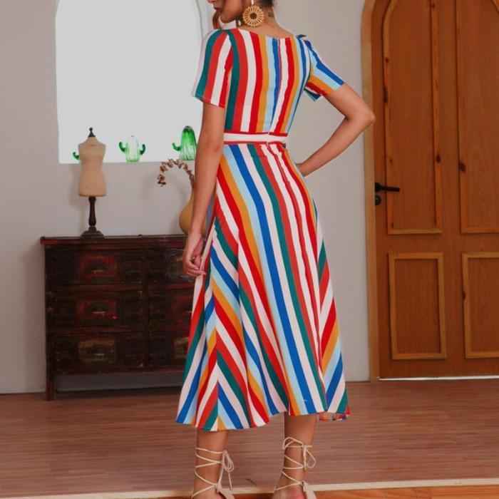 Maternity V-Collar Color Striped Zipper Dress
