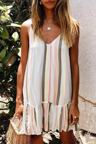 Maternity V-Neck Spaghetti Strap Stripe Falbala Loose  Above Dress
