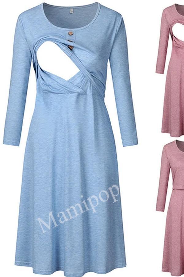New Round Neck Long Sleeve Maternity Dress Button Dress