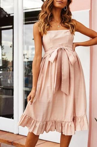 Maternity Pure Color Sling Belted Ruffled Hem Dress