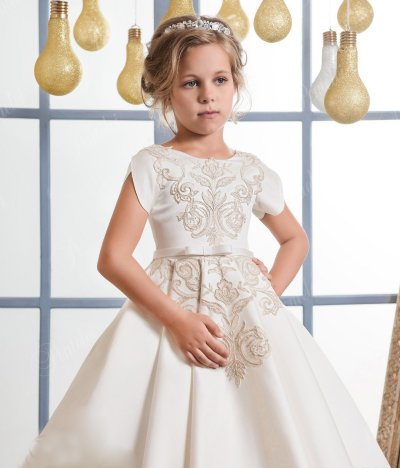 2020 spring and autumn champagne embroidered girl's long puffed skirt