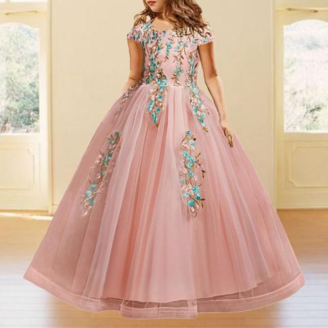 Elegant Embroidered Round Neck Evening Dress