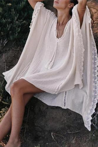 V-neck lace loose casual maternity dress