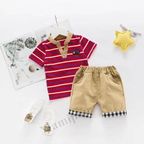 New boys' summer short sleeve suit 1-3-4-year-old boys' handsome short sleeve Shorts