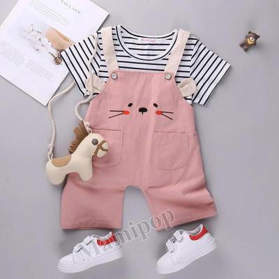2020 baby clothes striped short sleeve two-piece girls belt pants set