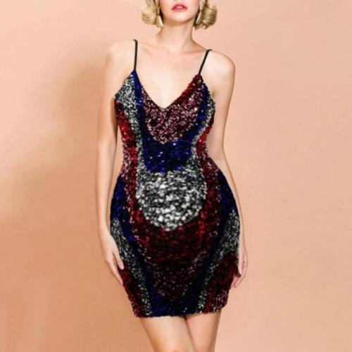 Maternity Sexy V-neck colorblock sequined sleeveless dress