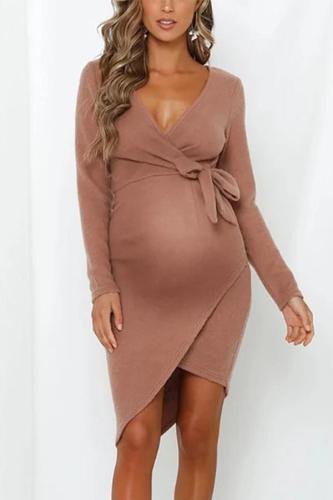 Maternity Long Sleeve Strap Dress