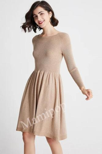 Sweater Medium Length Women's Round Neck Knitted Large Swing Skirt