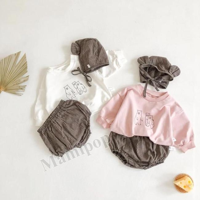 2020 Autumn Outfit New Baby Cartoon Print Plaid Bread Pants and Hat Three-piece Optional Set