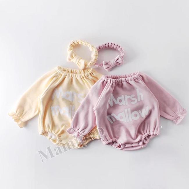 Winter Baby's Round Neck baby's Clothes Bow Tie One-piece Romper