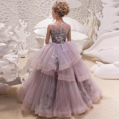 Girl princess dress children's dress catwalk host piano performance dress lace poncho mesh dress