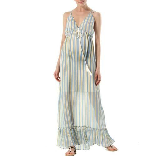 Maternity V-Neck Stripe Loose Casual Maxi Dress