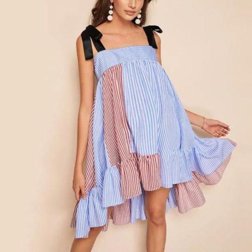 Maternity Contrast Striped Sling Dress