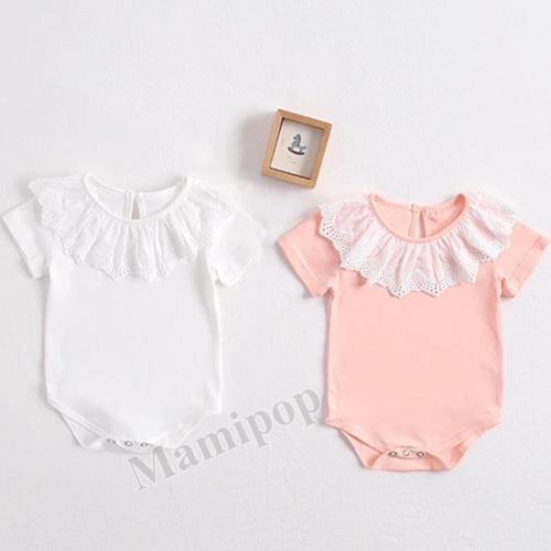 Summer 2020 New Baby Girl Lace Collar Bag Fart Garment Baby Pure Cotton Romper