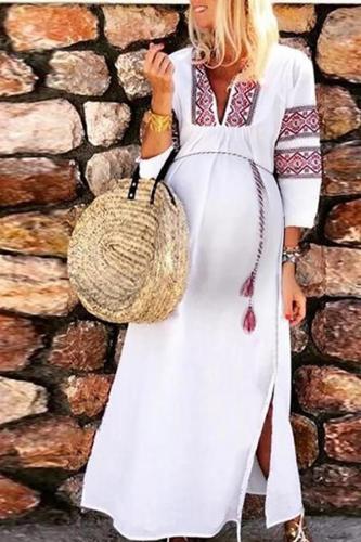 Maternity Sweet Long Sleeve Printed Dress