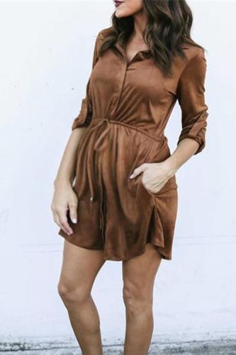 Maternity Fashion Waistband Strap Shirt Dress