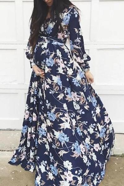Maternity Commuting Floral Printed Long Sleeve Dress