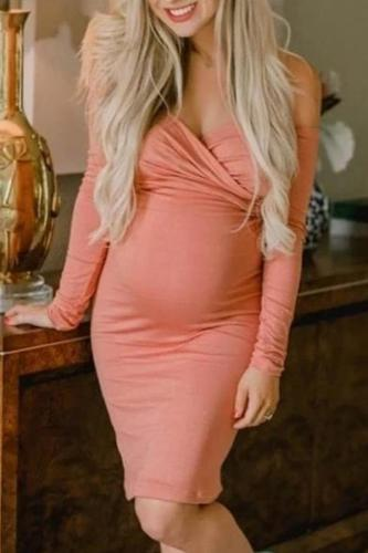 Sexy Tube Top Solid Color Long Sleeve Dress