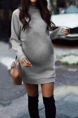 Maternity Casual Long Sleeve Pure Color Dress