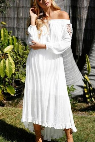 Maternity One Shoulder Strap With Irregular Dress