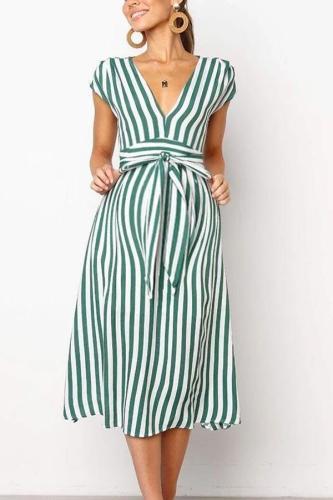Maternity Deep V-Neck Stripe Casual Long Dress