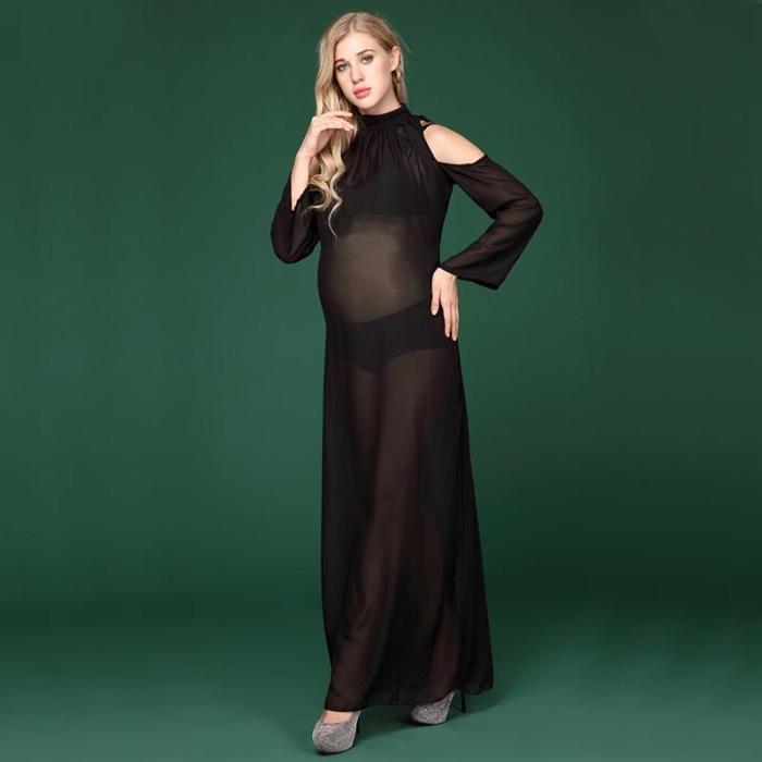 Black Long Sleeve Chiffon Dresses For Pregnant Women Photo Clothes