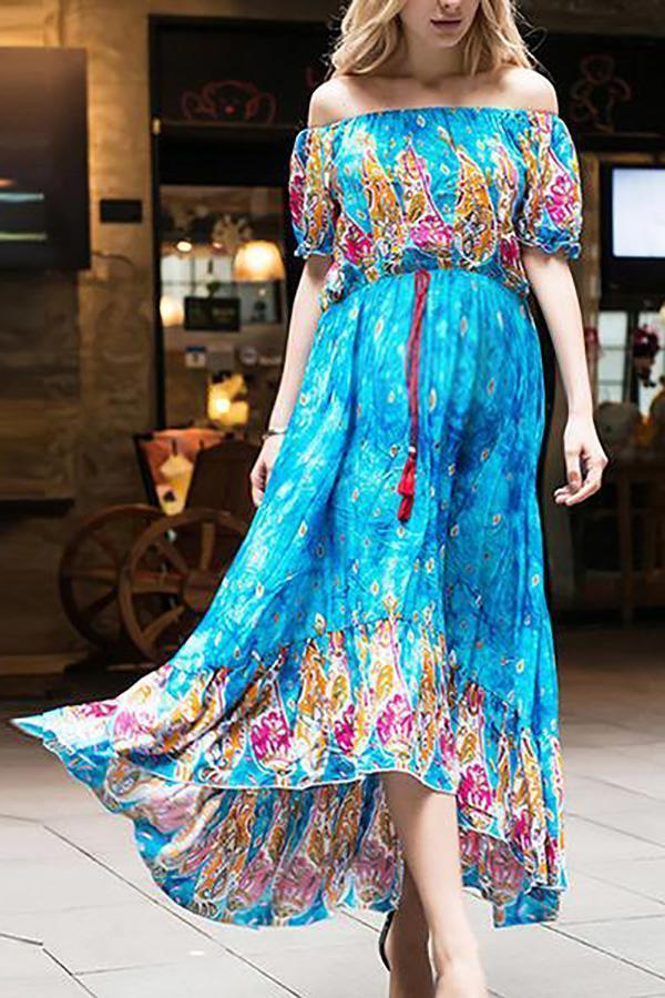 Maternity Casual Printed Off Shoulder Dress