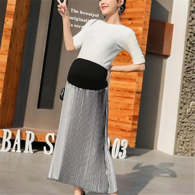 Maternity Casual Stitching Gradient Pleated Skirt
