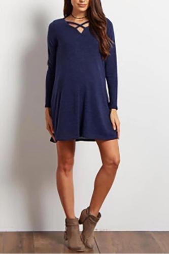 Maternity Casual V Neck Long Sleeve Pure Colour Dress