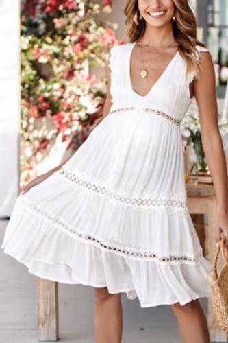 Maternity Sleeveless V-Neck Midi Dress
