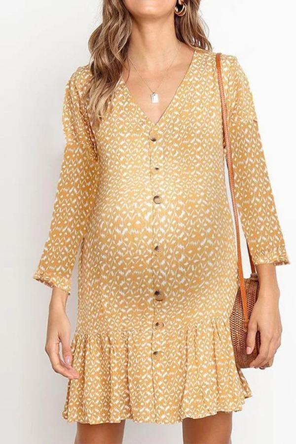 Maternity Fashion v-neck polka dot long-sleeved ruffled dress