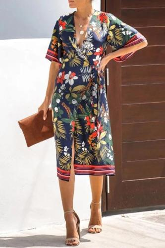 Maternity Floral Print Short Sleeve Wrap Dress