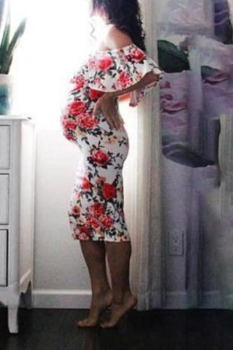 Maternity Casual Boat Neck Printed Color Ruffled Ruched Dress