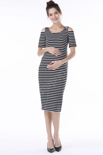 Pregnant Women Summer Casual Striped Pregnancy Dresses Clothes