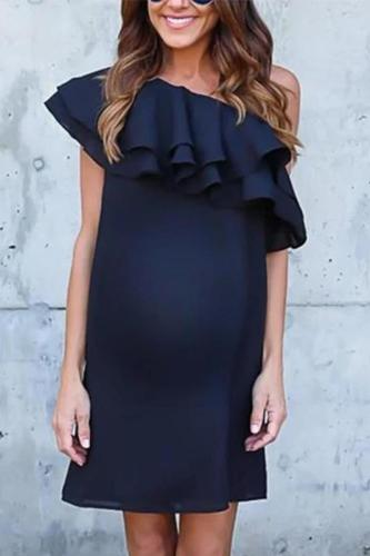 Maternity Fashion Layered Ruffled Sloping Shoulder Pure Color Dress
