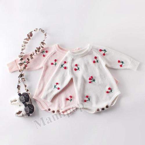 New Baby  Cherry Long Sleeve Knitting Wool Bodysuit